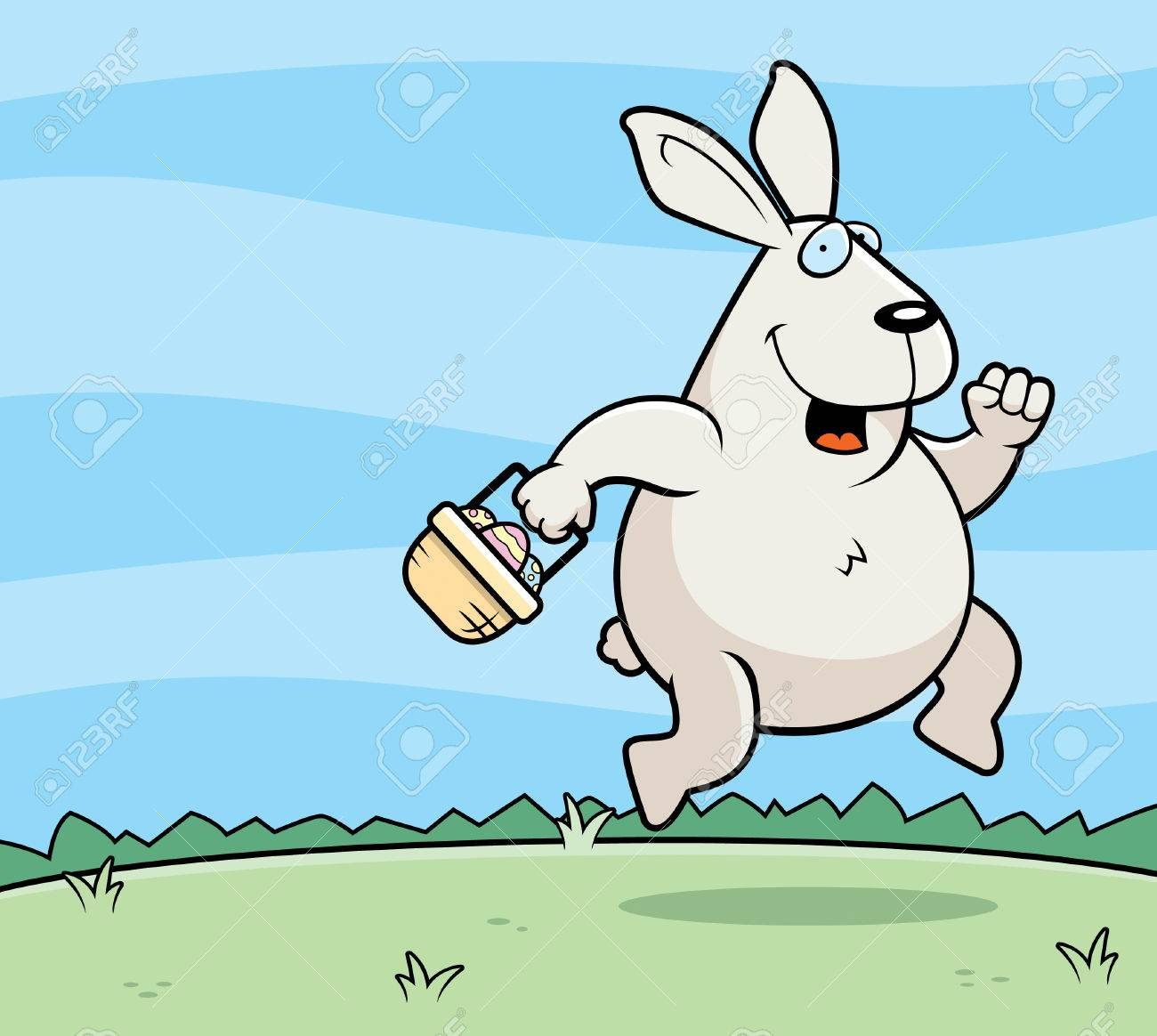 A happy cartoon Easter Bunny hopping and smiling..