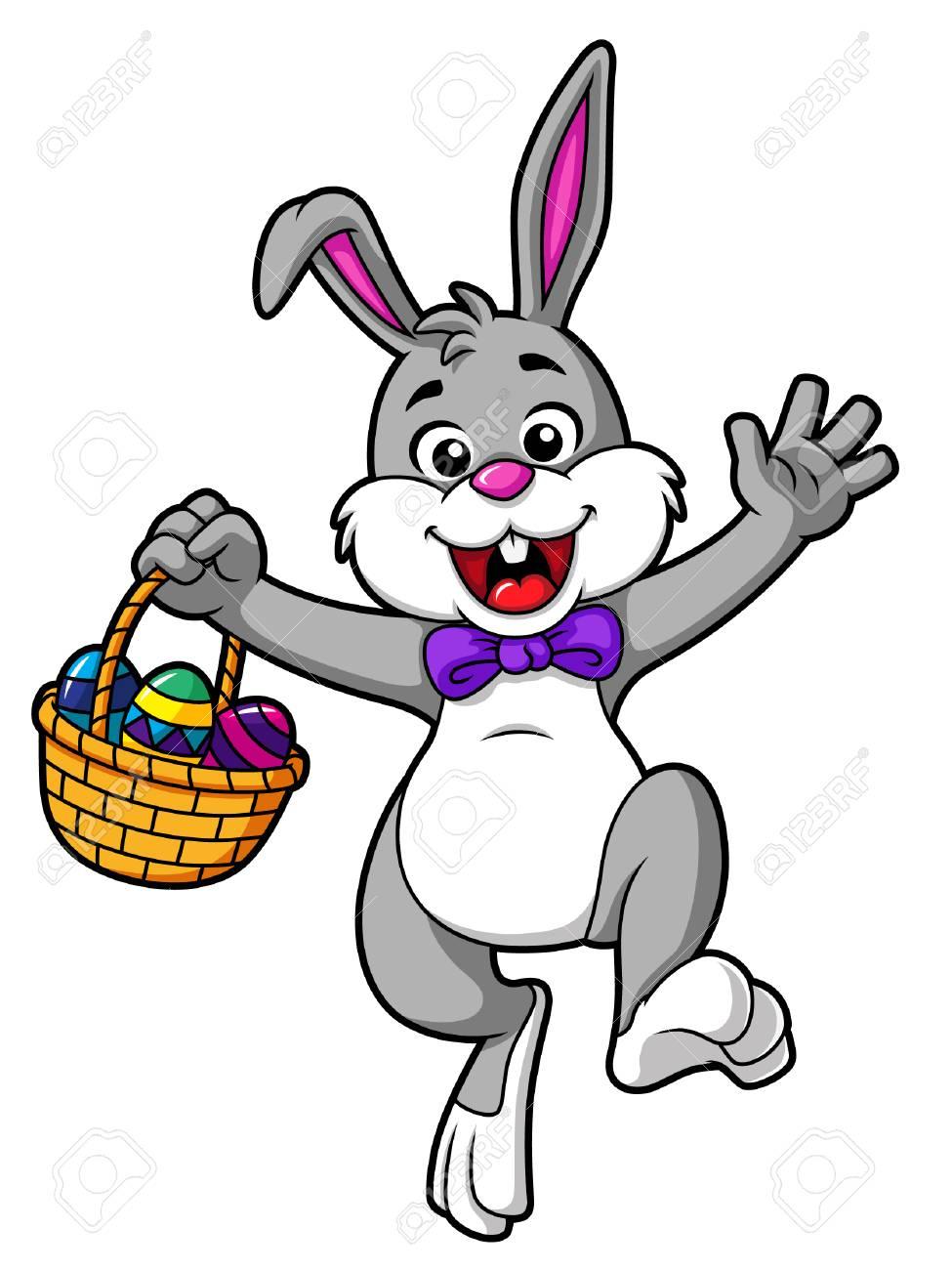 Vector Cartoon Hopping Easter Bunny With Basket.