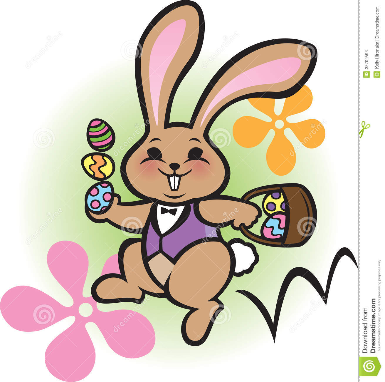 Hopping Easter Bunny Clipart.