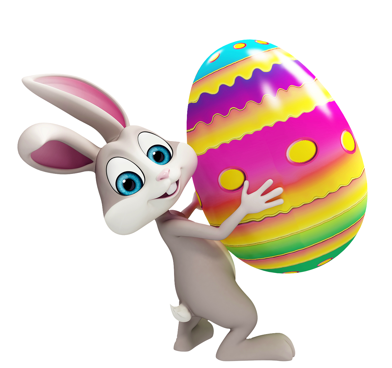 Easter Bunny with Colorful Egg Transparent PNG Clipart.