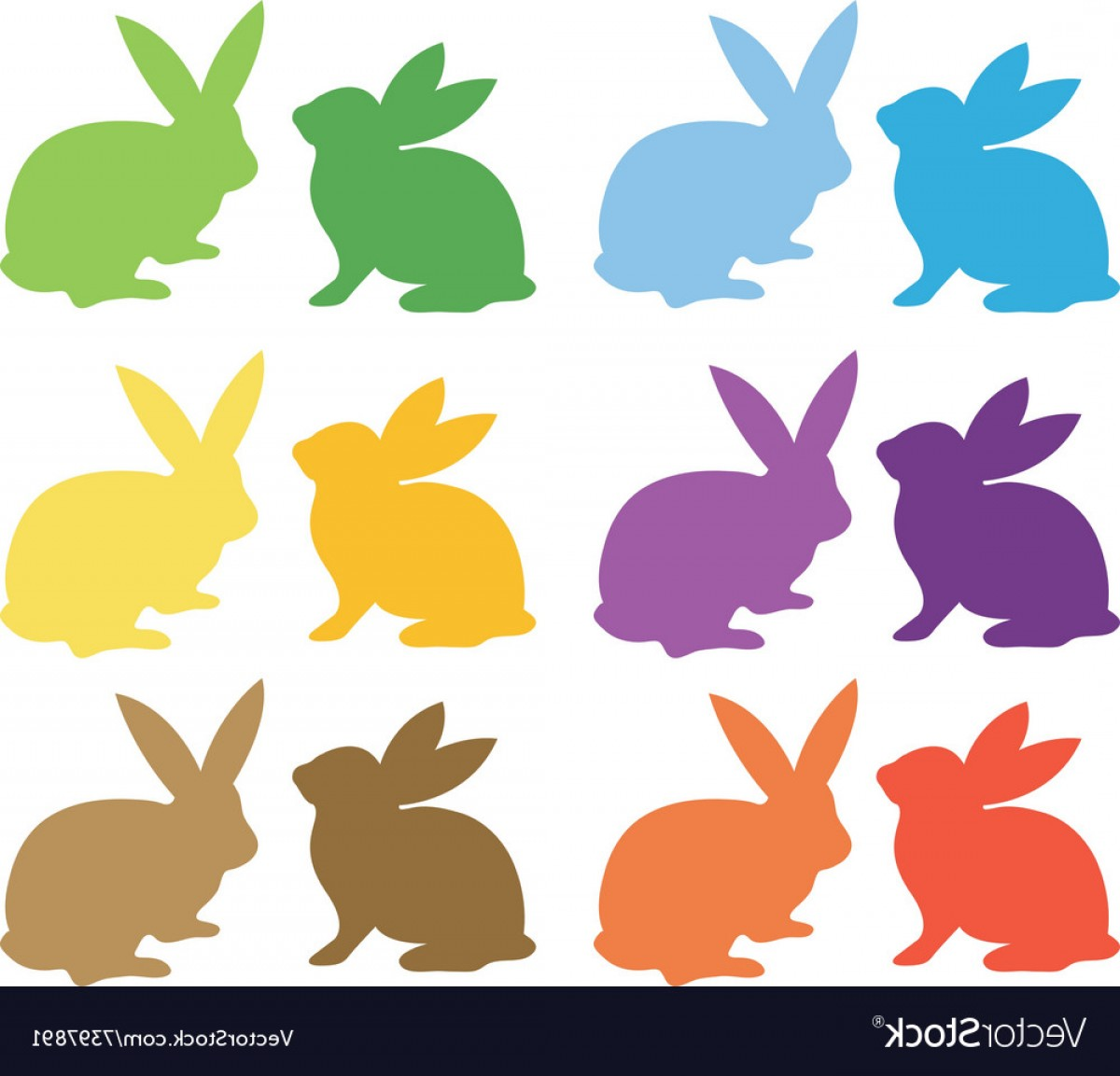 Easter Bunny Silhouette Collections Vector.