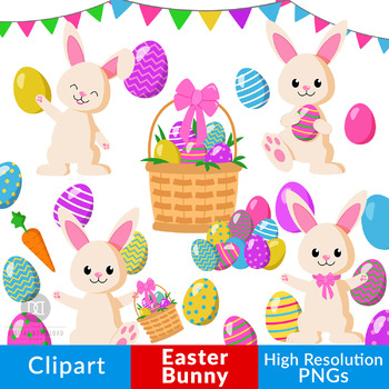 Easter Bunny Clipart, Easter Clipart, Easter Eggs Graphic, Easter Basket  Clipart.