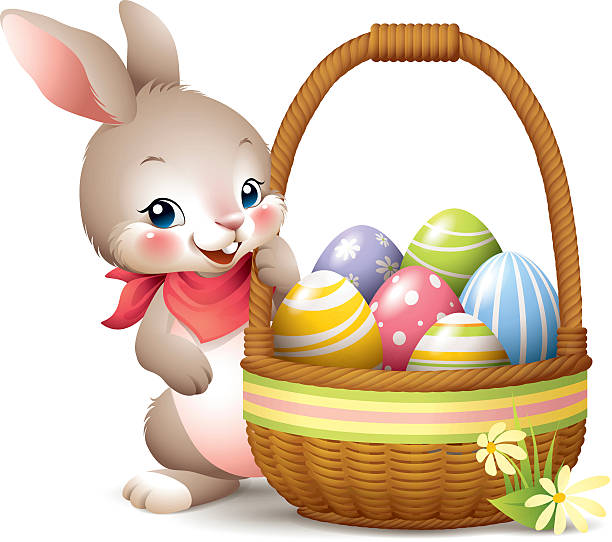 Best Easter Bunny Basket Illustrations, Royalty.