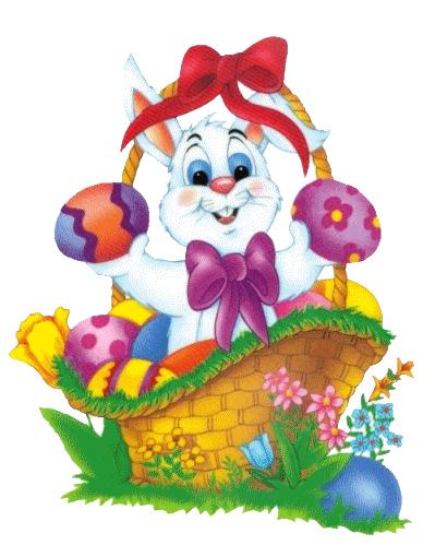 Easter Bunny Basket Clipart.