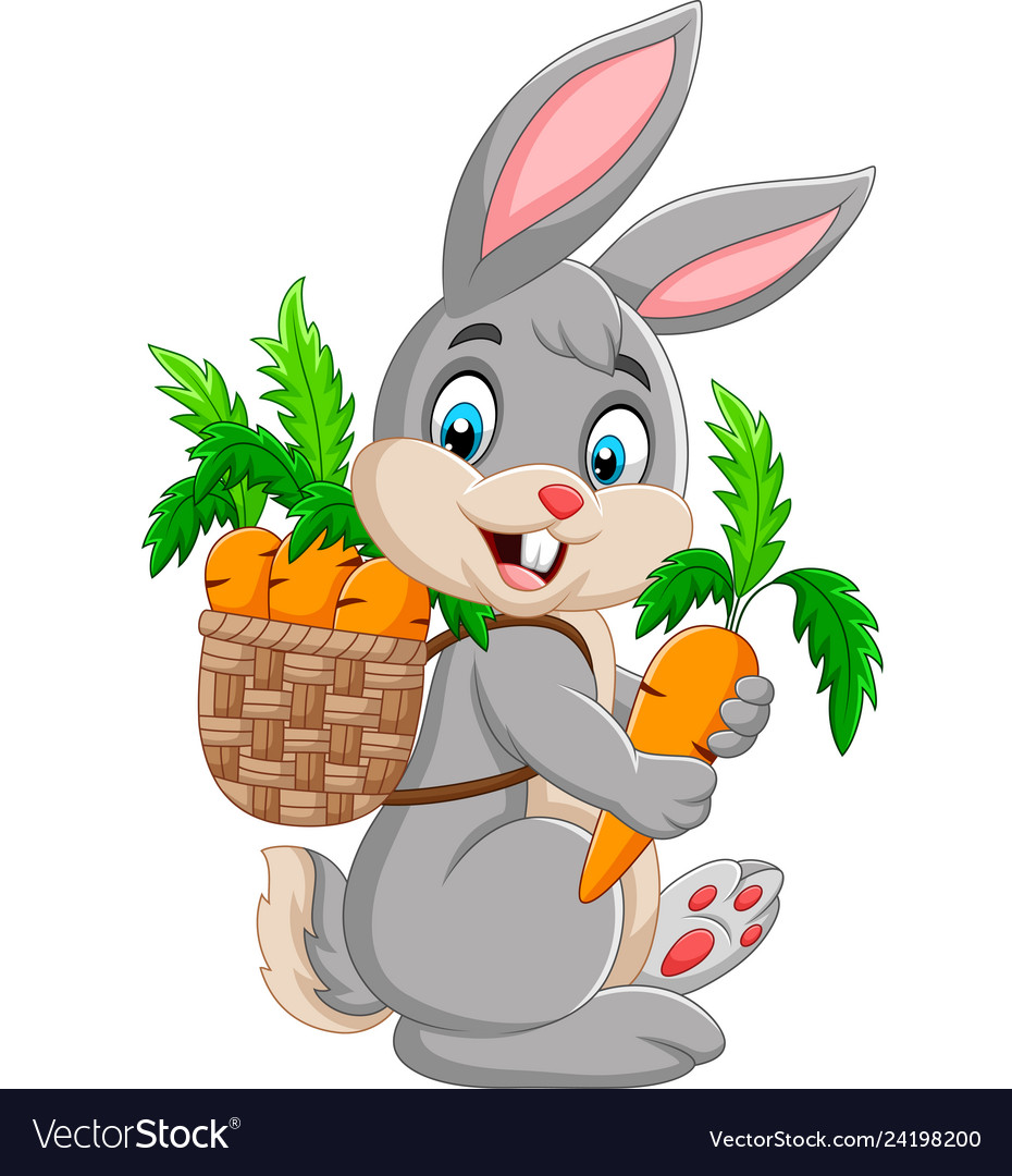 Easter bunny carrying basket full of carrots.
