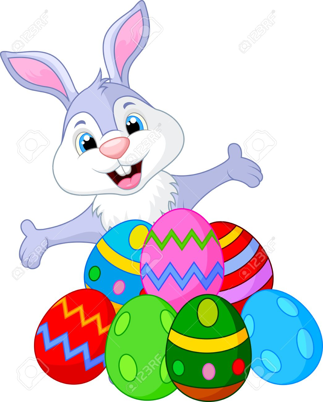 Easter funny rabbit with eggs.