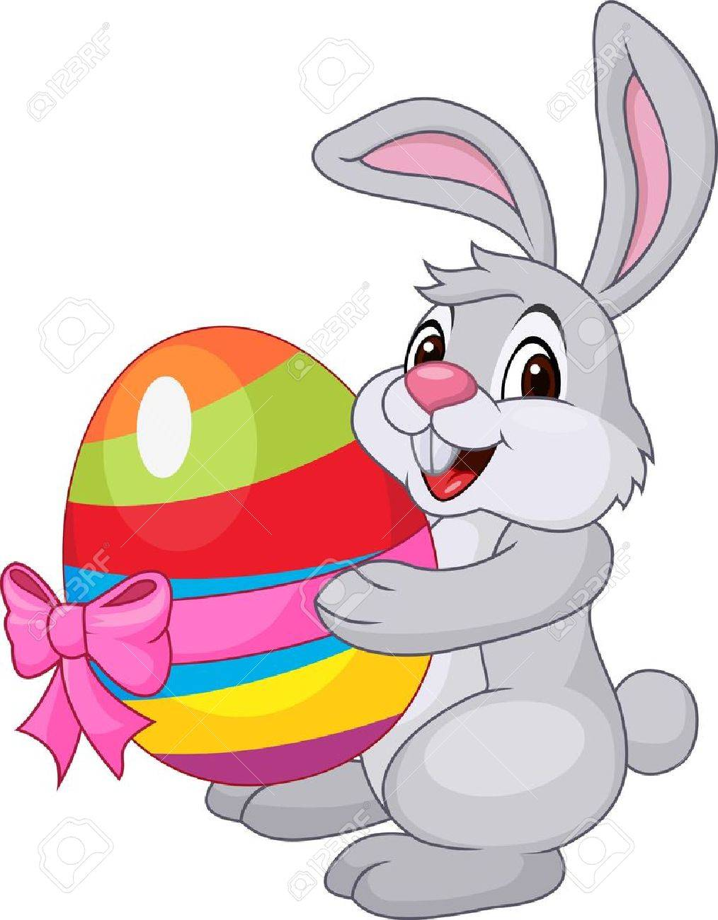 Cute rabbit with easter egg.