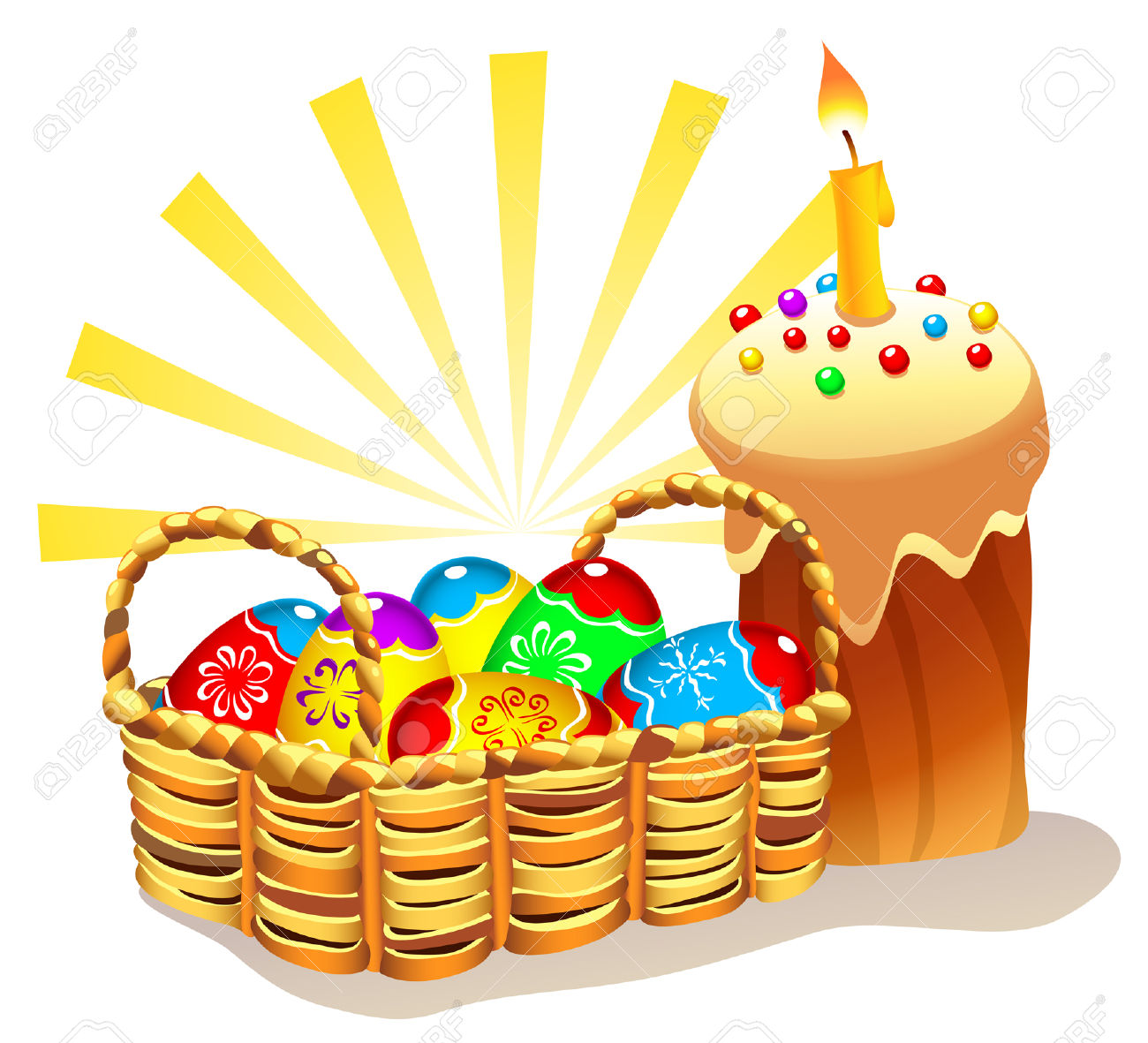 Illustration Of Traditional Easter Cake And Wicker Basket With.