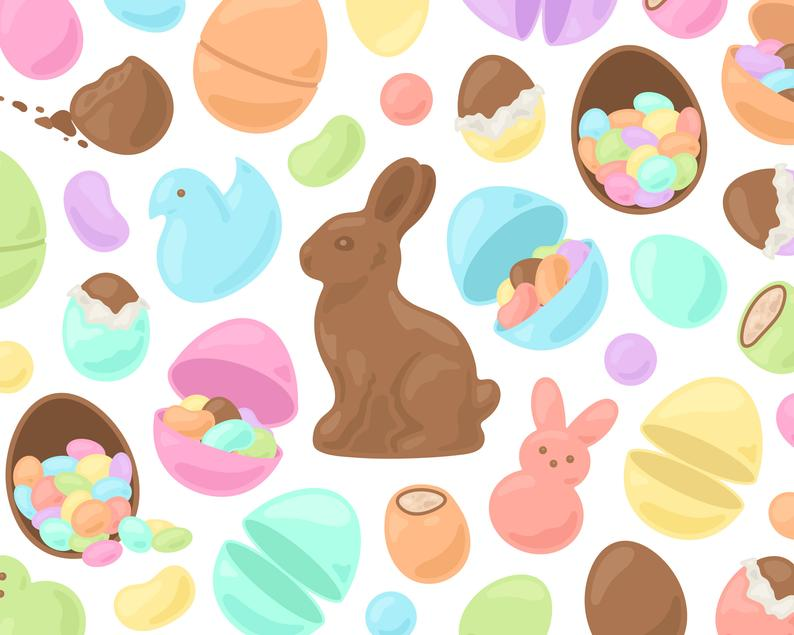 Pastel Easter Candy Clipart, Chocolate Bunny Clipart, Chocolate Egg Clip  Art, Spring Candy Clip Art Designs, Commercial Use.