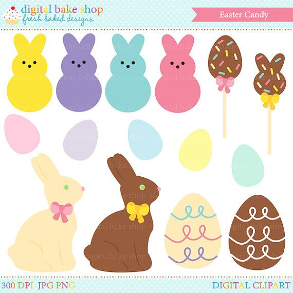 easter candy clipart clip art digital bunny egg chocolate.