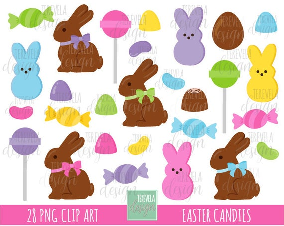 EASTER CANDIES clipart, easter clipart, commercial use, marshmallow bunny,  easter candy, candy clipart, chocolate bunny, easter clipart.