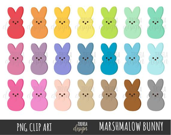 EASTER candy clipart, marshmallow bunny clipart, easter, commercial use,  rainbow bunny, multicolor, easter candies, peeps, multicolor easter.