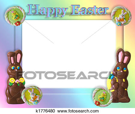 Easter Candy Frame Border Clipart.