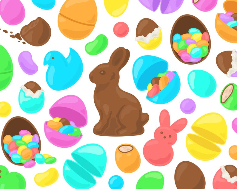 Rainbow Easter Candy Clipart, Chocolate Easter Bunny Candy Clip Art,  Chocolate Easter Egg Clipart, Easter Chicks Clip Art, Commercial Use.