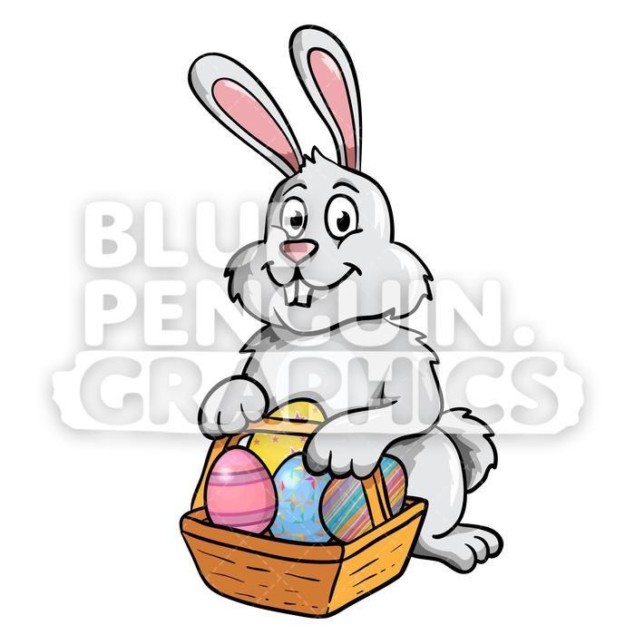 Easter Bunny With Eggs Vector Cartoon Clipart Illustration.