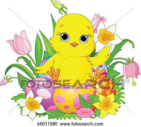 Happy Easter chick Clipart.
