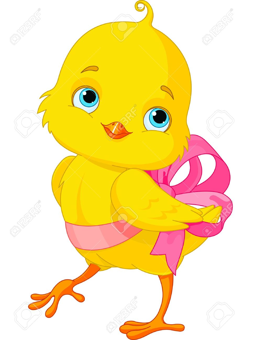 Cute Easter Chick with bow.
