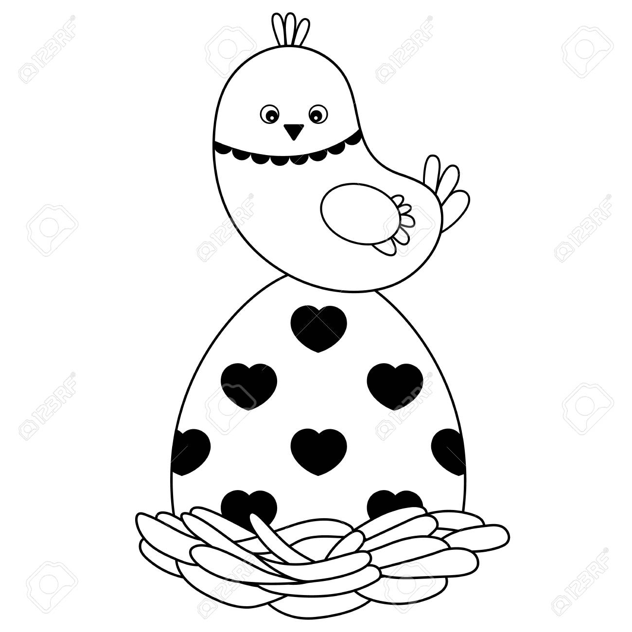 Vector black and white cute cartoon Easter chick sitting on the...