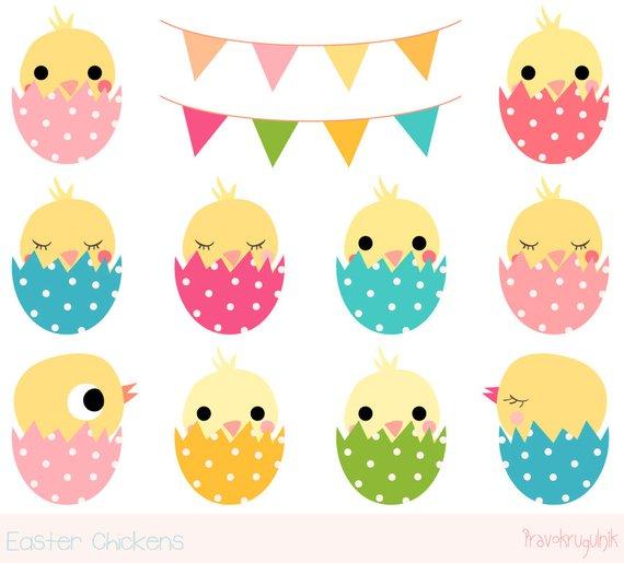 Easter chick clipart, Cute chicken clipart, Kawaii chicken clip art.