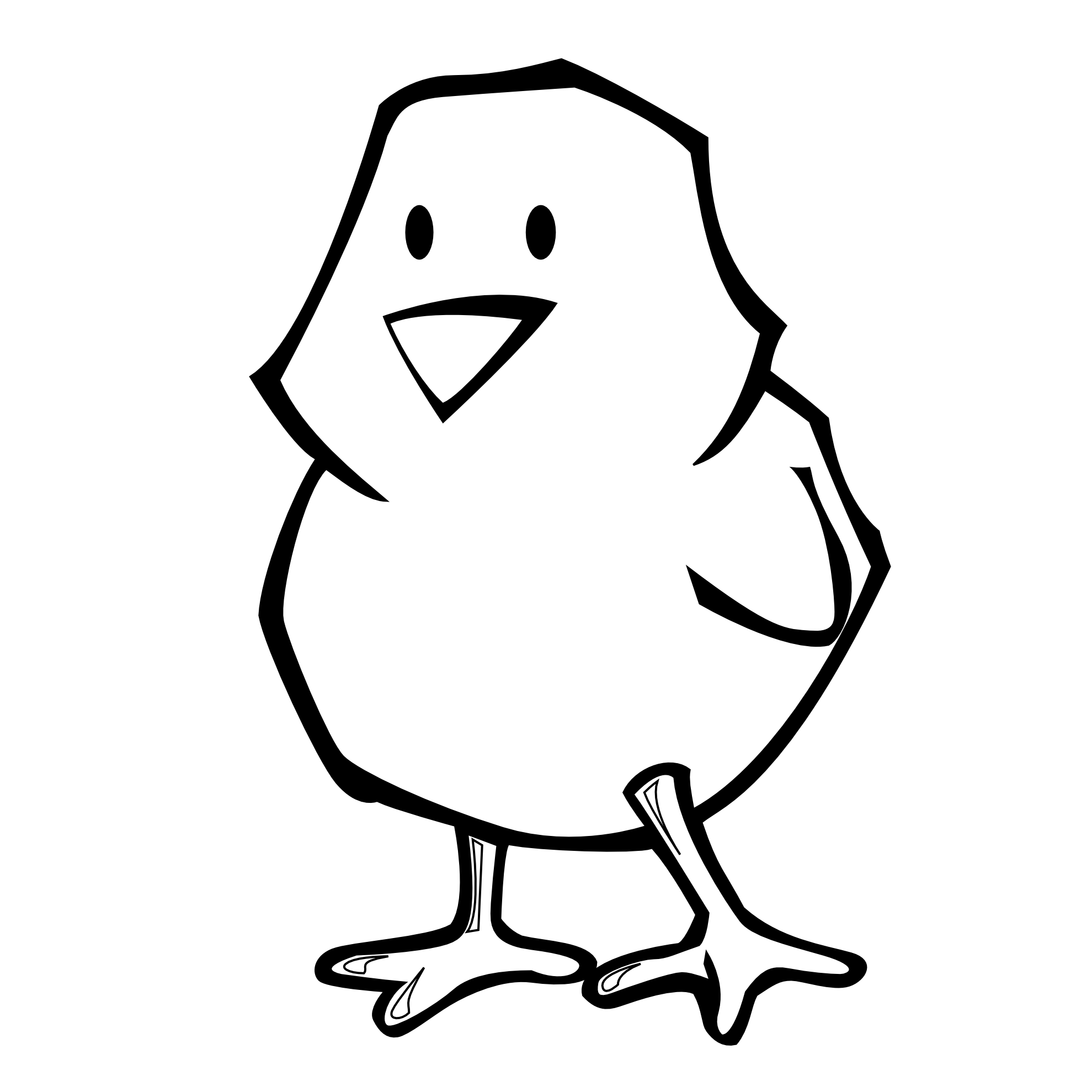 Clipart Chick Black And White.