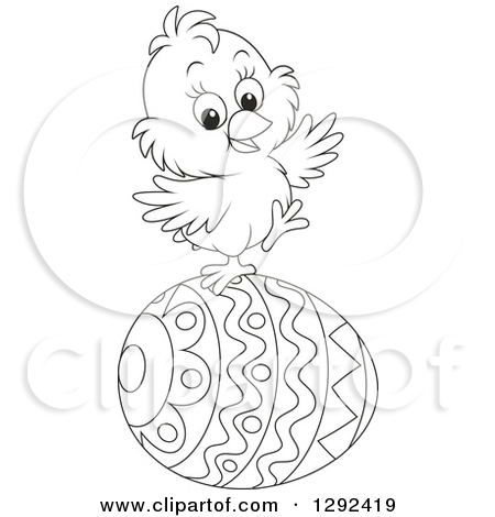 Easter Chick Clipart Black And White.