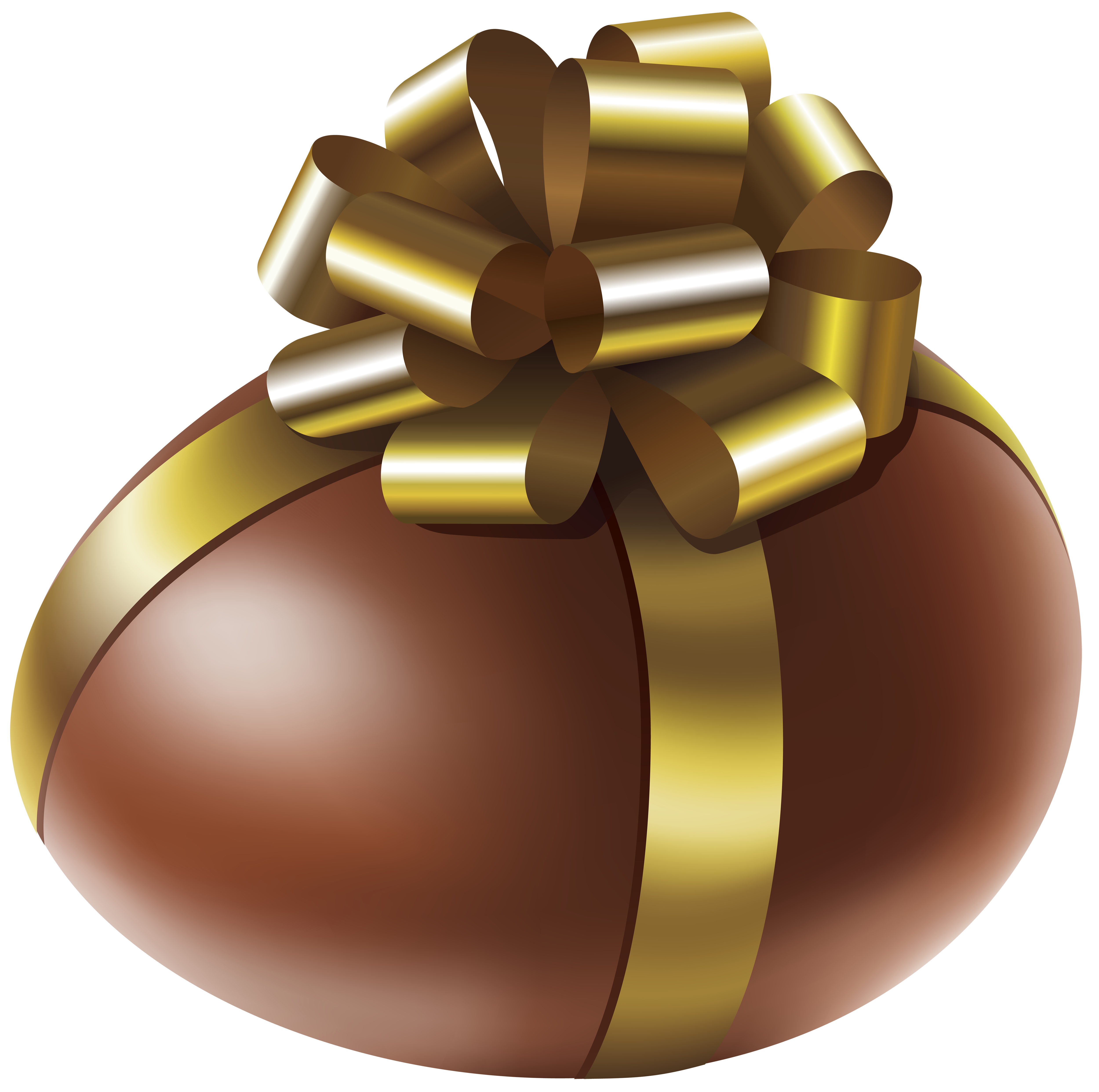 Easter Chocolate Egg with Gold Bow Transparent PNG Clip Art Image.