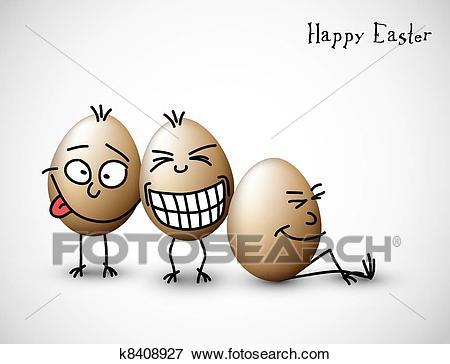 Funny easter eggs Clip Art.