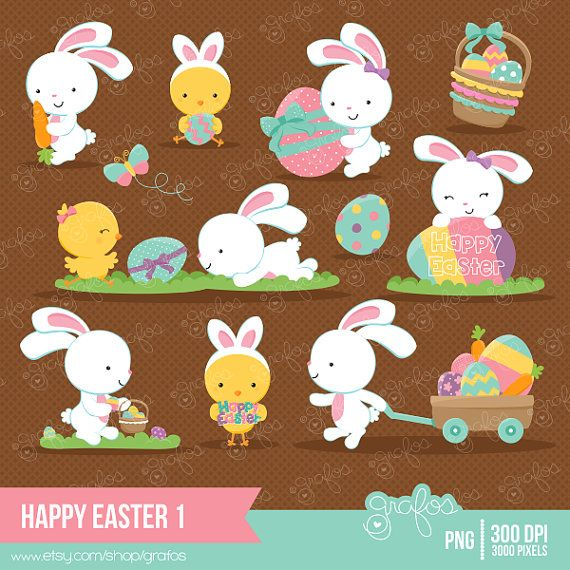 HAPPY EASTER 1 Digital Clipart , Easter Clipart, Bunny.
