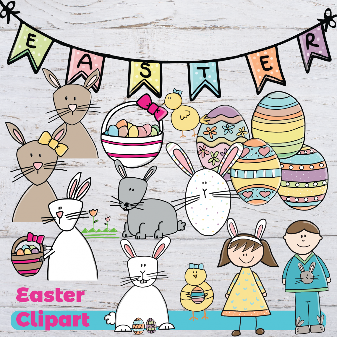 Easter Bunny Rabbit Digital Clipart.