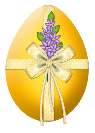 Easter Yellow Egg with Flower Decor PNG Clipart Picture.