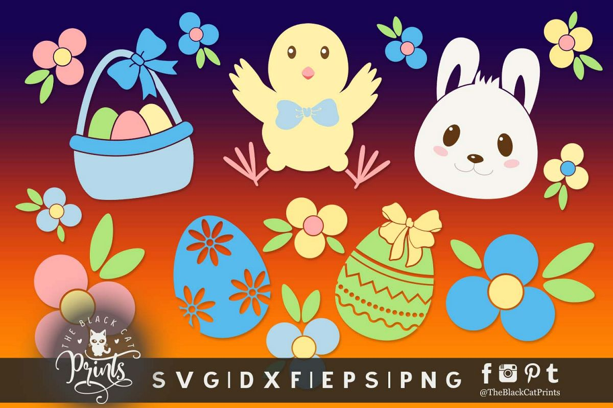 Easter clipart SVG DXF EPS PNG Kids Easter cutting files.