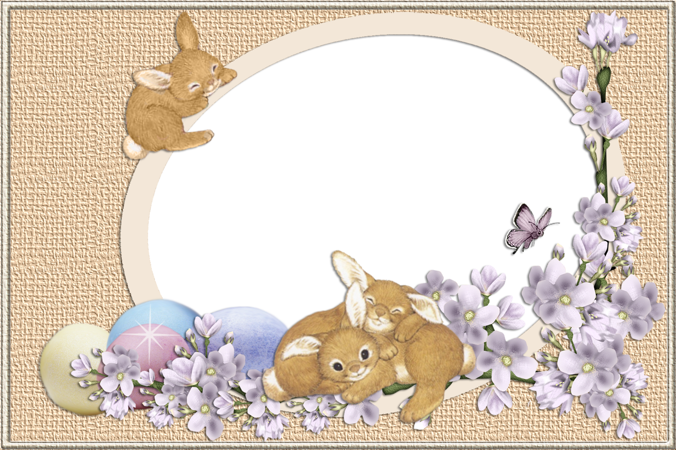 Easter Bunnies Transparent PNG Frame.