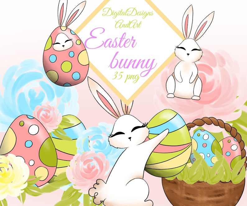 Easter clipart, Bunny clipart, Easter bunny, Spring clipart, Watercolor  clipart, Spring flower, Paper supplies, Planner clipart.