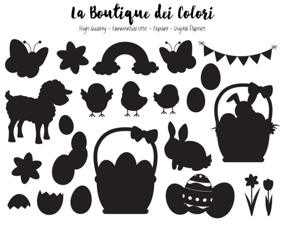 Easter SVG Cute silhouette Clipart PNG Spring Animals Clip.