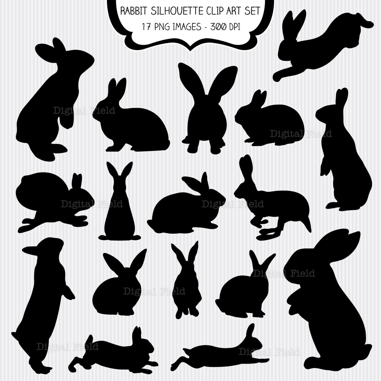 Rabbit Silhouette Clip Art Set Easter bunny printable.