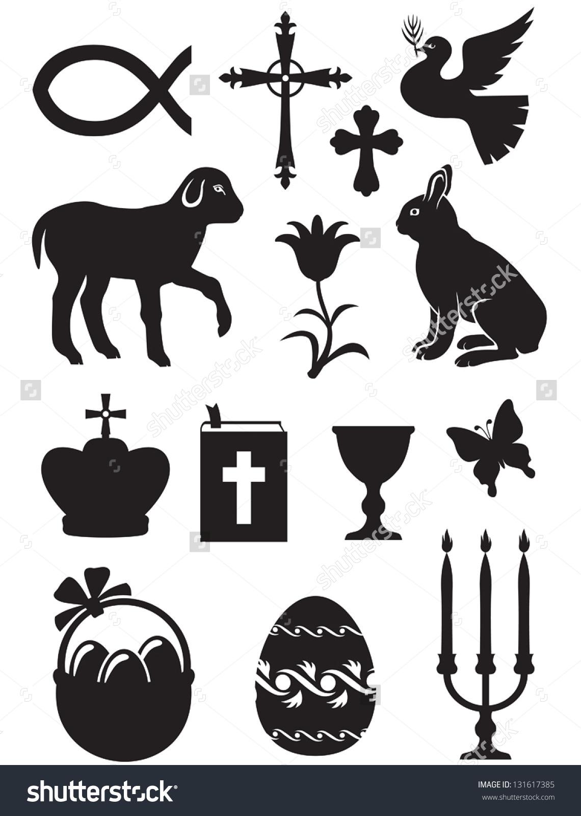 Easter Set Silhouette Black White Images Stock Vector 131617385.