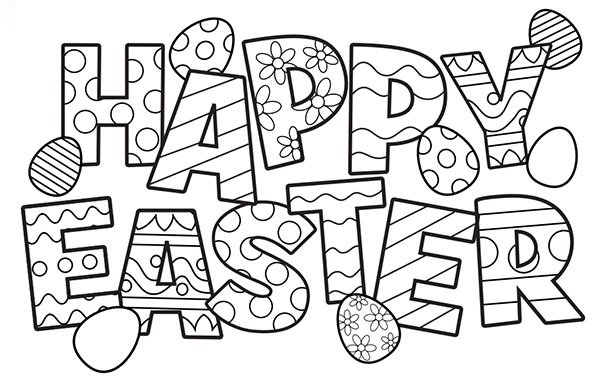 Happy Easter Coloring Pages Printable for Kids and Adults.