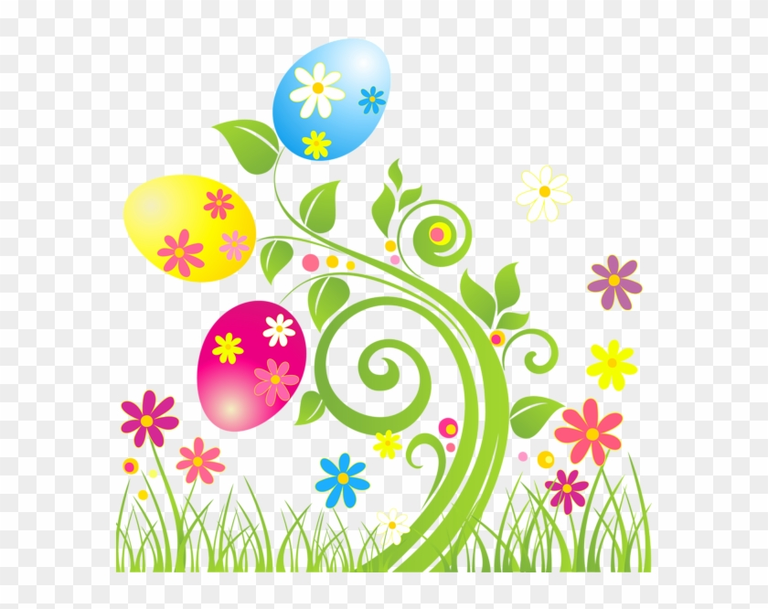 Easter Egg Decoration With Flowers Png Transparent.
