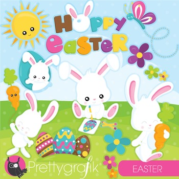 Easter bunny clipart commercial use, vector graphics, digital.