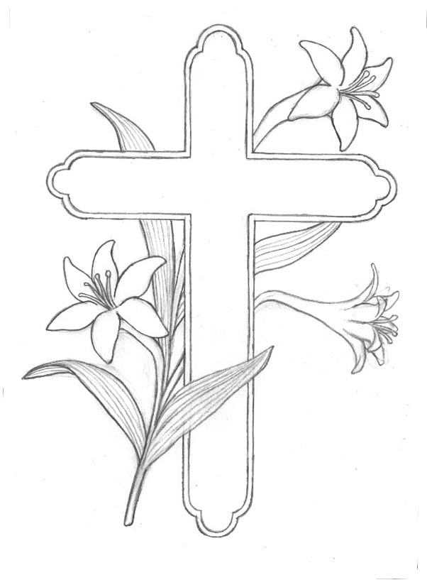 Easter Lilies And Cross Clipart.