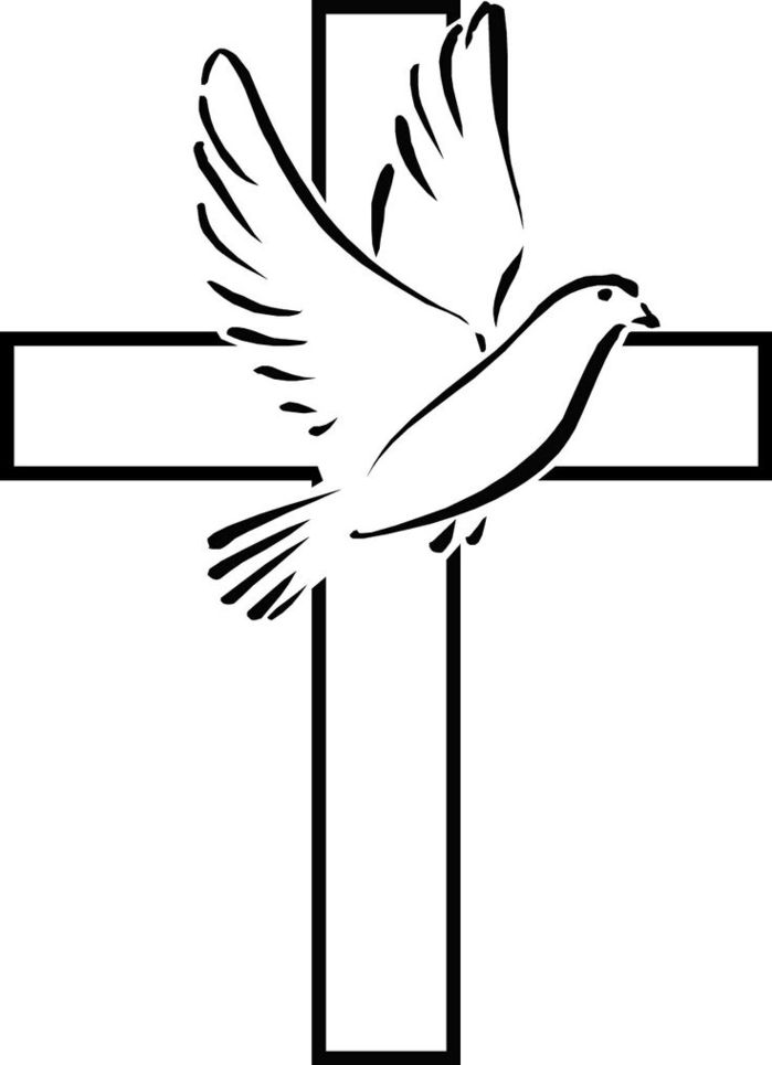Black And White Easter Cross Clipart.