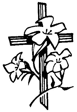 Easter Cross And Toumb Black And White Clipart.