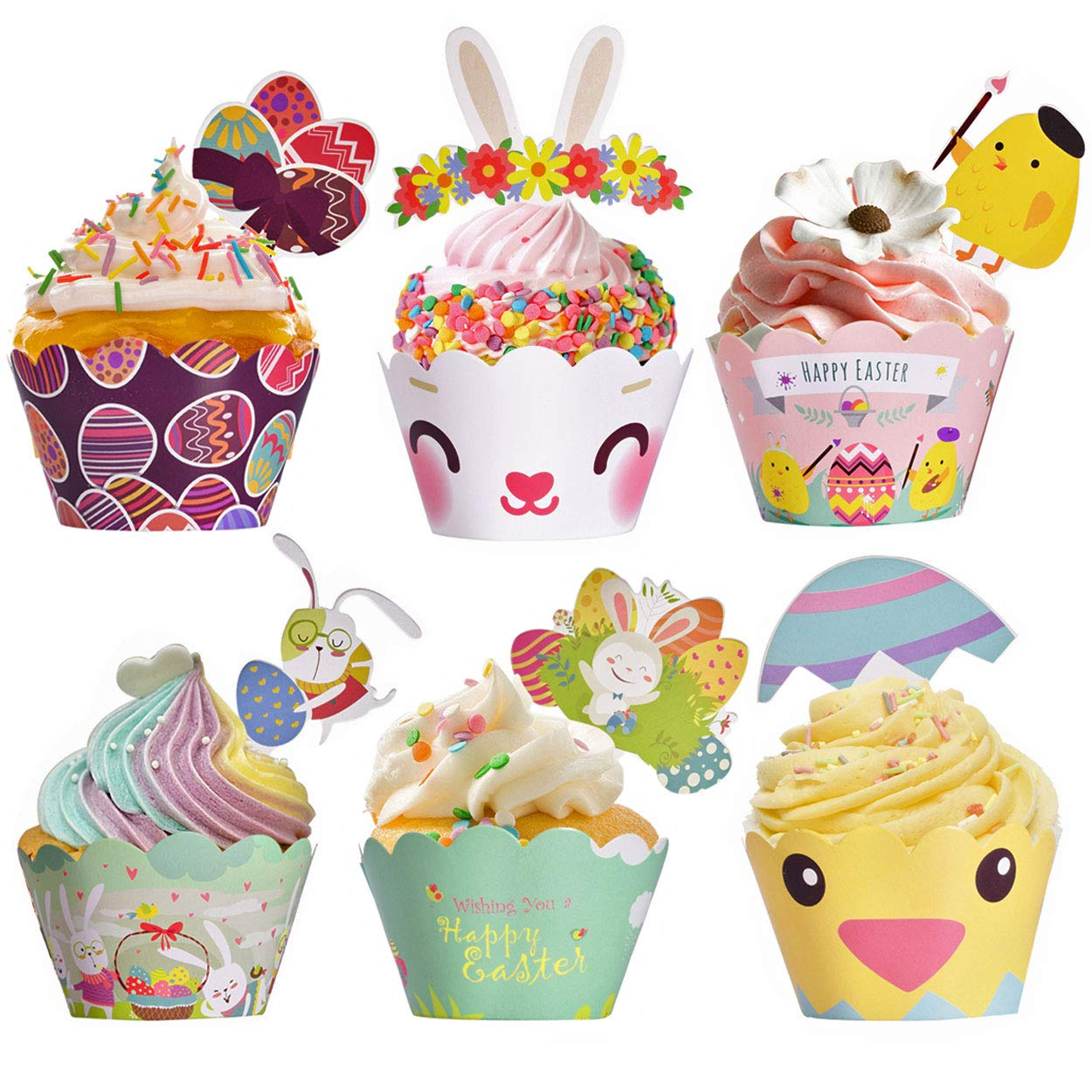 Easter Cupcake Wrappers Toppers Liners Decorations Kit Bunny Paper Baking  Party Supplies 48Pcs Easter Rabbit Egg Themed.
