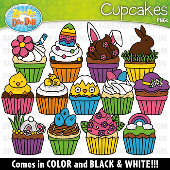 Easter Cupcakes Clipart Set {Zip.