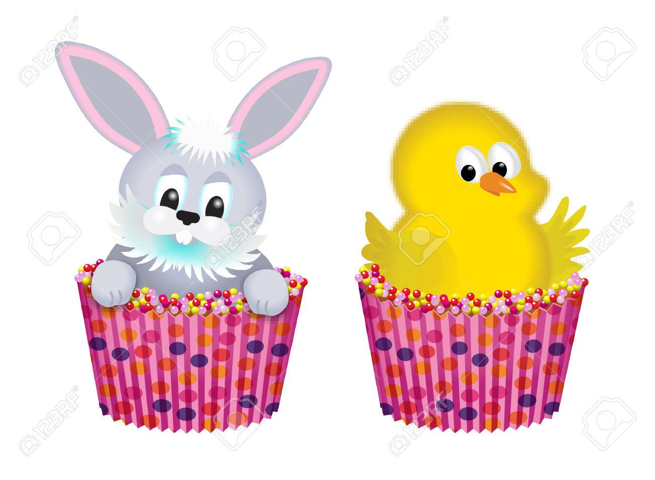easter cupcakes with rabbit and chick.