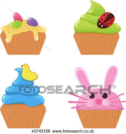Easter cupcakes Clip Art.