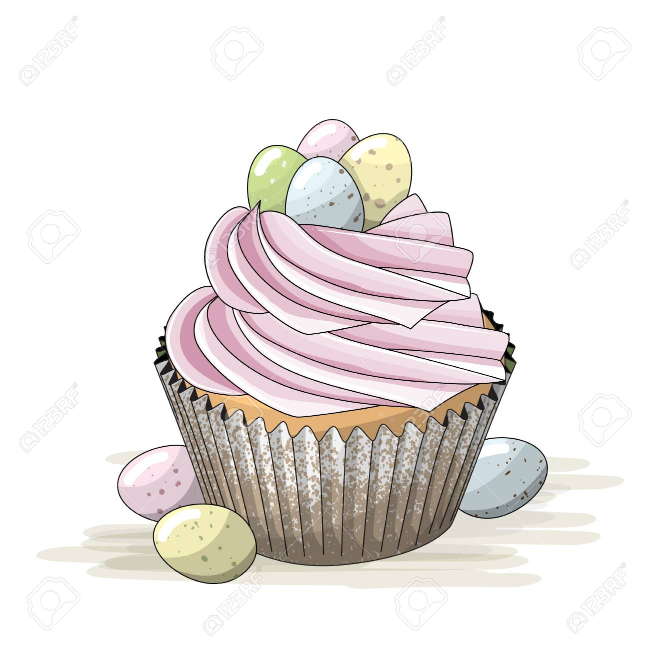 Easter motive, cupcake with pink cream and small colorful eggs,...