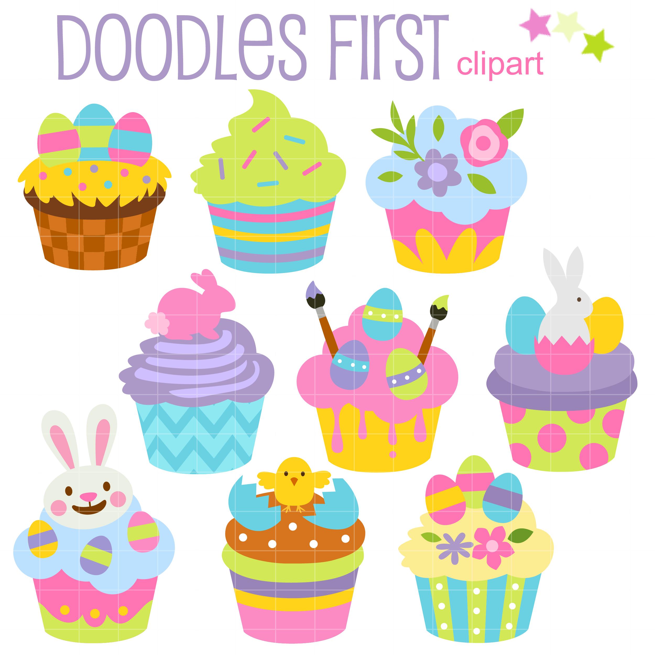 Easter Cupcakes Clip Art Set.