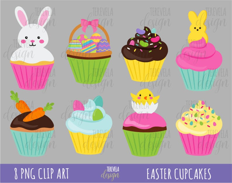 50% SALE EASTER cupcakes clipart, easter clipart, commercial use, instant  download, cute cupcakes, desserts, easter bunny, candies, eggs.