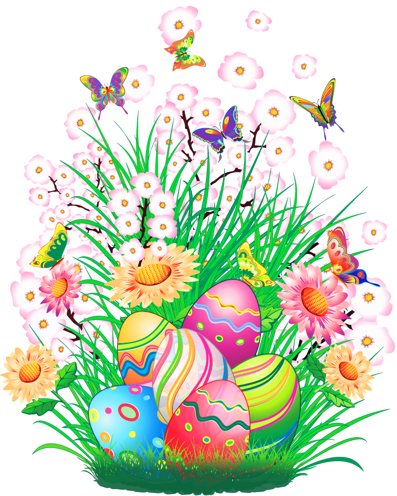 Transparent Easter Decor with Eggs and Grass PNG Clipart Picture.